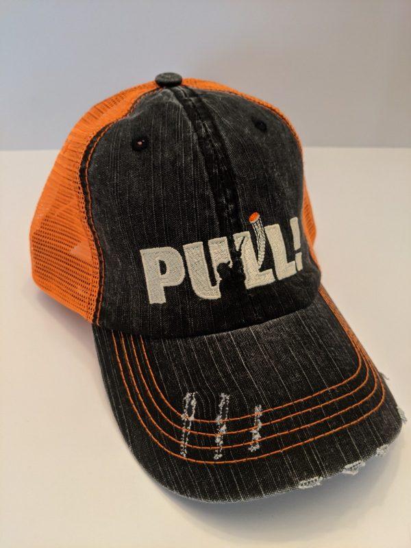 Skeet Shooting Hats - Orange & Black Hunting Caps - PULL! Design
