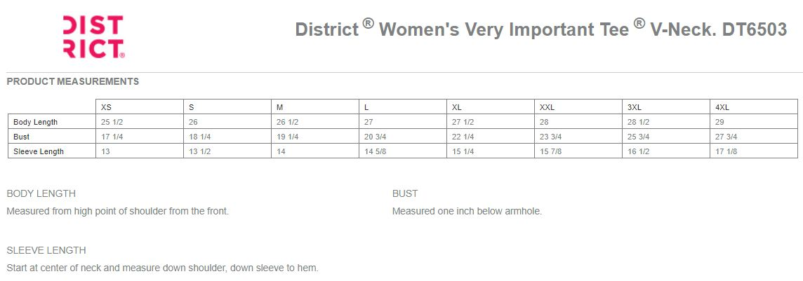 District Women's V-Neck Shirts Sizing Chart