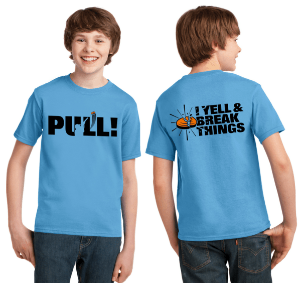 Youth Clay Shooting Shirts - PULL - I Yell & Break Things Kids T-Shirt