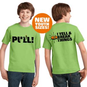 Youth Clay Shooting Shirts - PULL - I Yell & Break Things Kids T-Shirt
