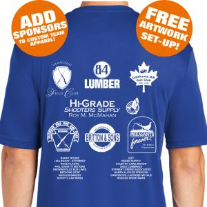 Custom Team Sponsor Shirts - ADD-ON Sponsors Screenprinted BACKS Custom Team Apparel