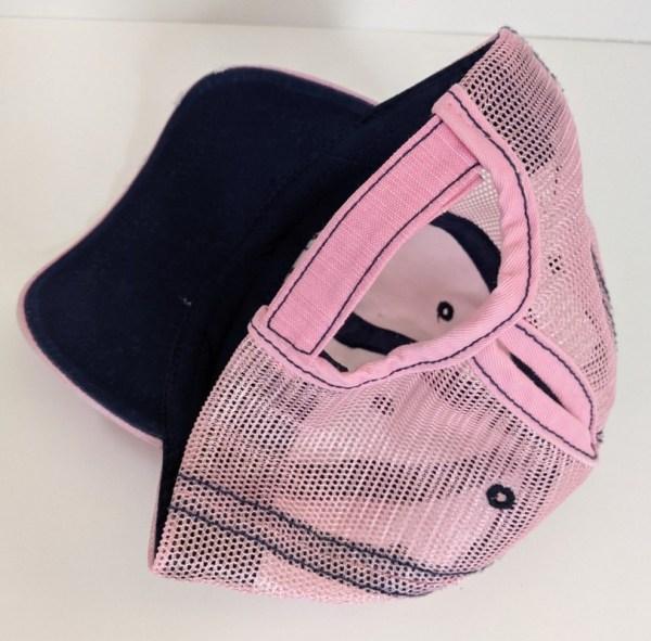 Ponytail Caps - Ladies Trap Shooting Hats - Pink & Navy PULL Design