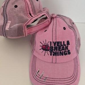 Ponytail Caps - Ladies Trap Shooting Hats - Pink & Navy YELL & BREAK THINGS Design