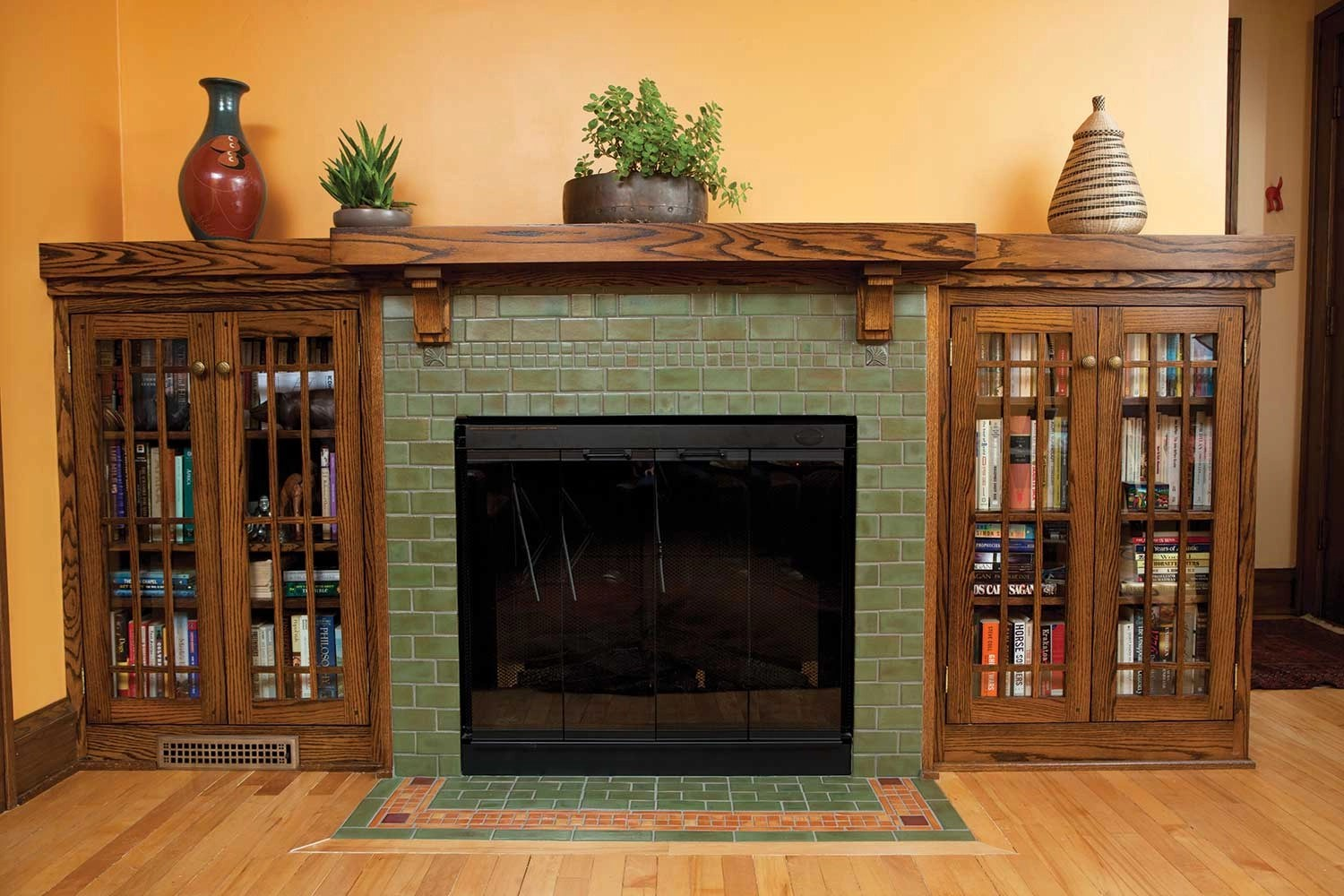 the davenport tile fireplace a nod to the american bungalow