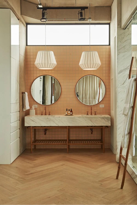 """3"""" x 3"""" Tropical Mid Century Peach Bathroom Wall Tile"""