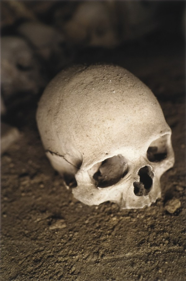 Human skull sitting on the dirt floor of the Cimitero delle Fontanelle ossuary in Napoli Italy.