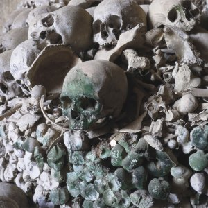 Human skull colored green by lichen moss on a pile of bones at the Cimitero delle Fontanelle ossuary in Napoli Italy.