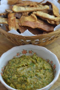 Aubergine Dip with Pitta Chips