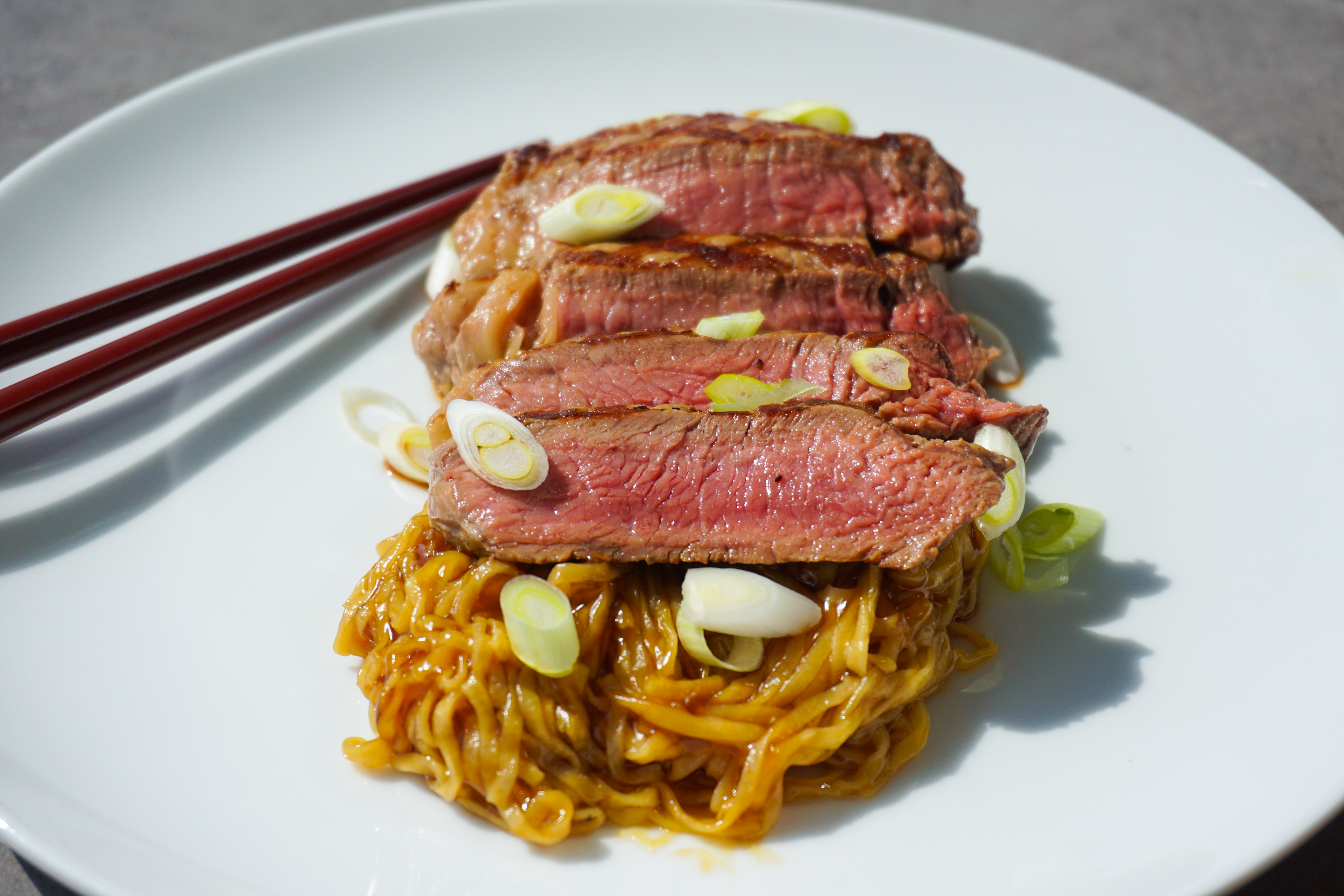 Teriyaki Steak with Homemade Noodles
