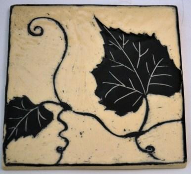 Grape Leaf Sgraffito Tile