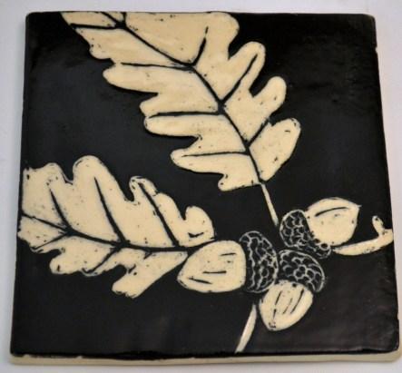 Oak Leaf Sgraffito Tile
