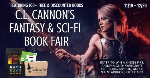 Sword wielding maiden (who can't hold a sword to save her life!) Fronting C.L. Cannon's Book fair - discover over 100+ free, discounted, and Kindle Unlimited Fantasy and Sci-fi books and enter for your chance to win a Kindle Fire, a one-month gift subscription to Owlcrate, and a $10 Starbucks gift card!