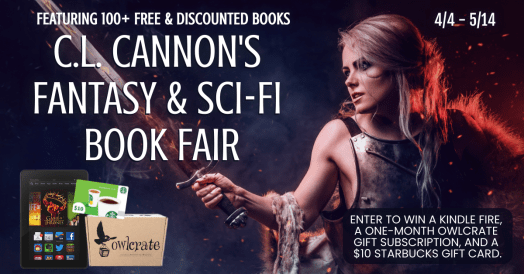 C.L. Cannon's book Fair Picture of pretty woman  in ill fitting armour, a fur and a large sword she doesn't appear to know how to use - but more importantly, an owlcrate gift subscription, a kindle fire and a starbucks gift card.