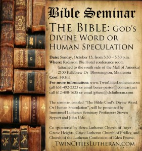2013 Bible Seminar advertisement image