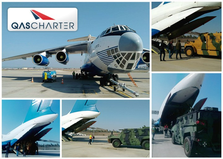QAS Charter an freight shipment of military vehicles to Baku and back