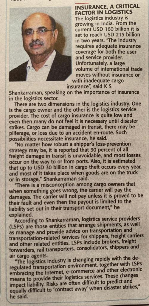 Shankar from Aqua Air Logistics participated as a panel speaker in the conclave organised by the Times of India in Chennai