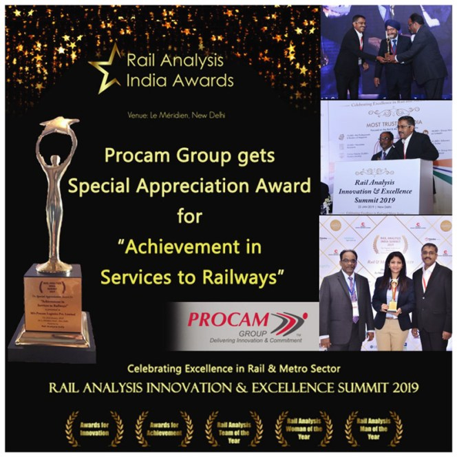 Procam recently received a Special Appreciation Award for Achievement in Services to Railways