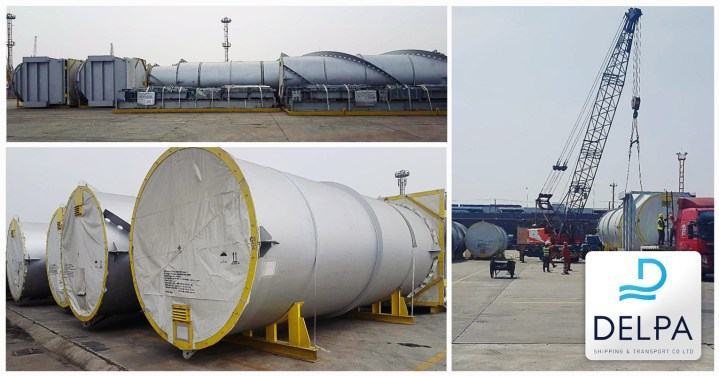 Delpa Shipping & Transport Greece was involved in the shipping of these over-szied breakbulk pieces
