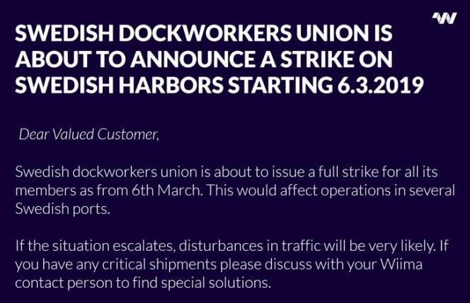 Wiima issues alert about Swedish Port Stike