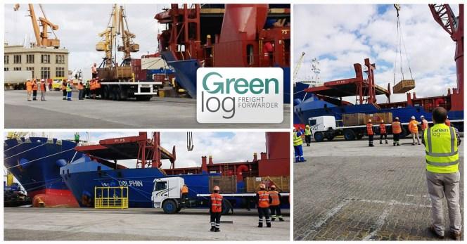 Greenlog receiving part charter cargo at Montivideo Pott