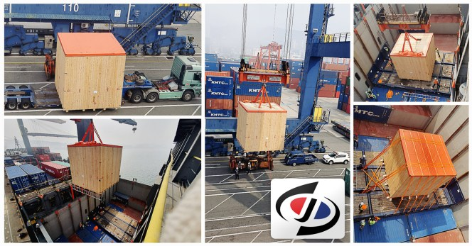 Shin-jo Logitech Loaded One Motor (55ton) On A Container Vessel from Busan to Port Kelang