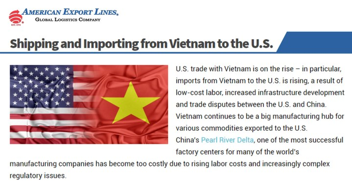 American Export Lines Published a New Blog Post:  Shipping and Importing from Vietnam to the U.S.