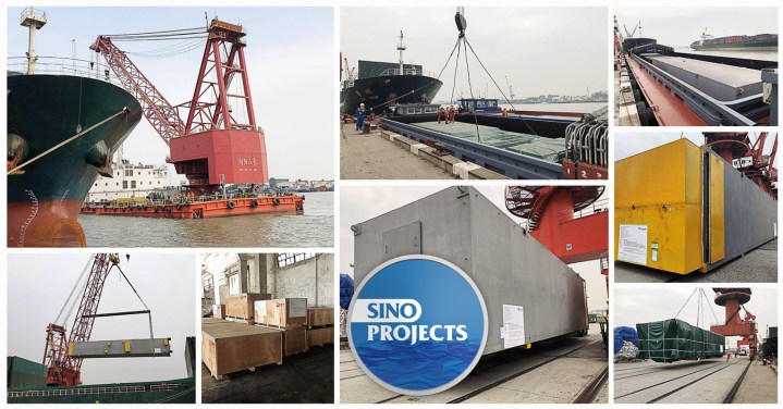 SinoProjects Used Floating Crane Xiangyang Number 8 at Shanghai Port for Loading Cold Boxes to Korea