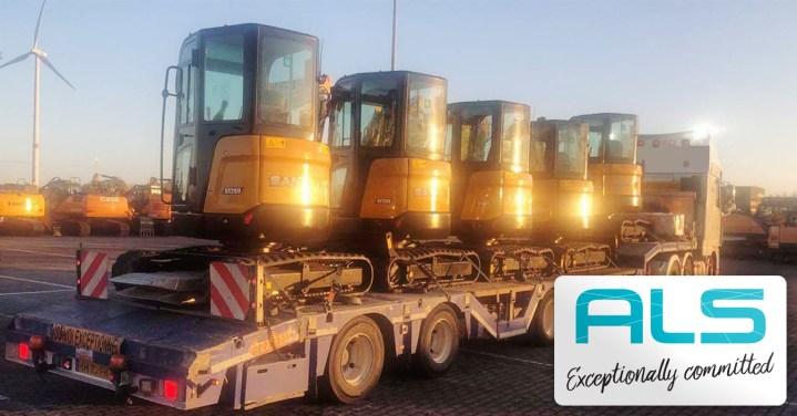 ALS Delivered 5 Sany Mini Excavators from Belgium to Germany