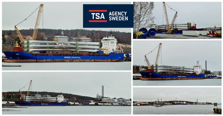 TSA Agency Sweden Handled a Smaller Project Cargo Vessel Loaded with Blades at port of Harnosand, 400 km North of Stockholm