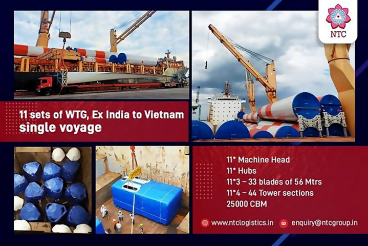 NTC Logistics Delivered 11 Sets of WTG from India to Vietnam