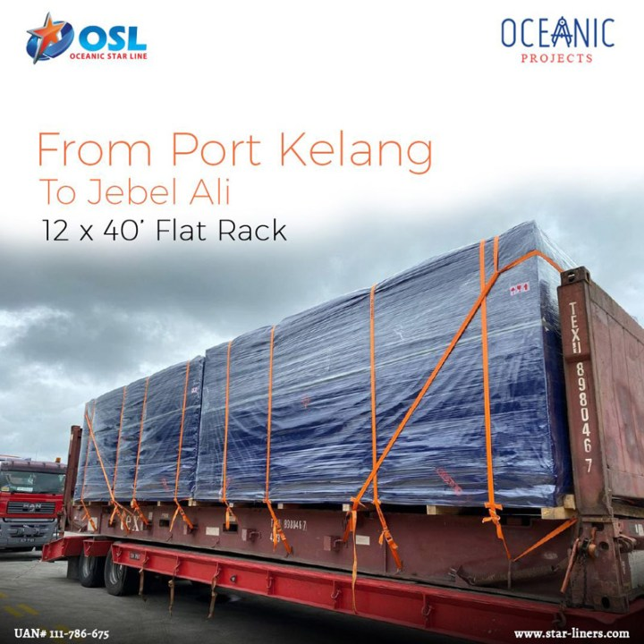 Oceanic Projects Shipped 12 x 40' Flat Racks from Port Kelang to Jebel Ali
