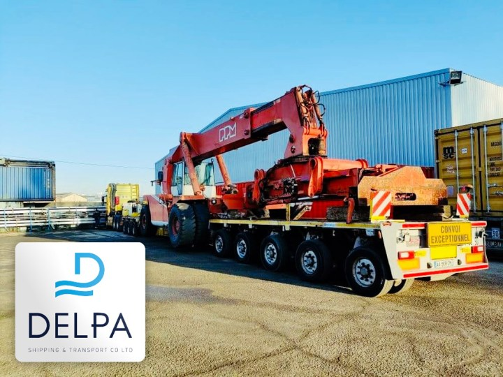 Delpa Shipping Delivered a 63mt : 4.65m High Reach Stacker Door to Door from France to Greece