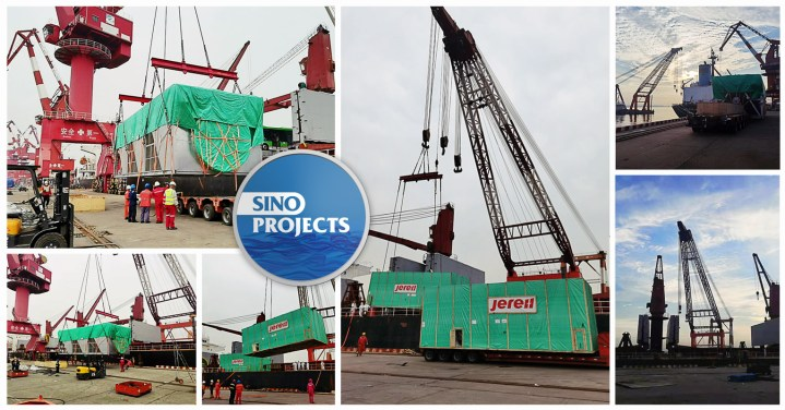 Sino Projects Safely Loading Breakbulk Cargo by Floating Crane at Tianjin Port