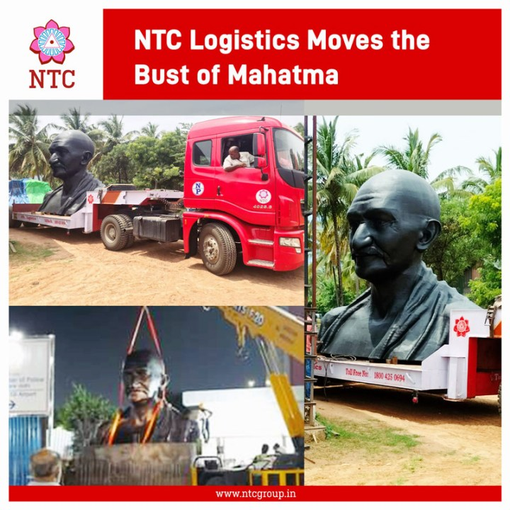 NTC Logistics Transported a 10mt Bust of Mahatma Gandhi from Isha Foundation in Coimbatore to New Delhi Airport