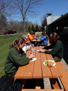 Stevenson Camp staff provided a delicious meal to feed the hungry workers after a long day of tree work