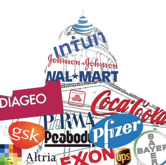 shape of capitol building using corporate logos