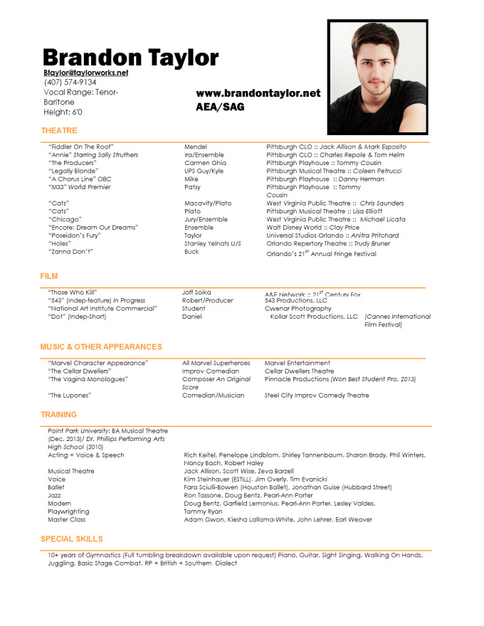 Headshot Resume Template. sample musical theatre resume smlf ...