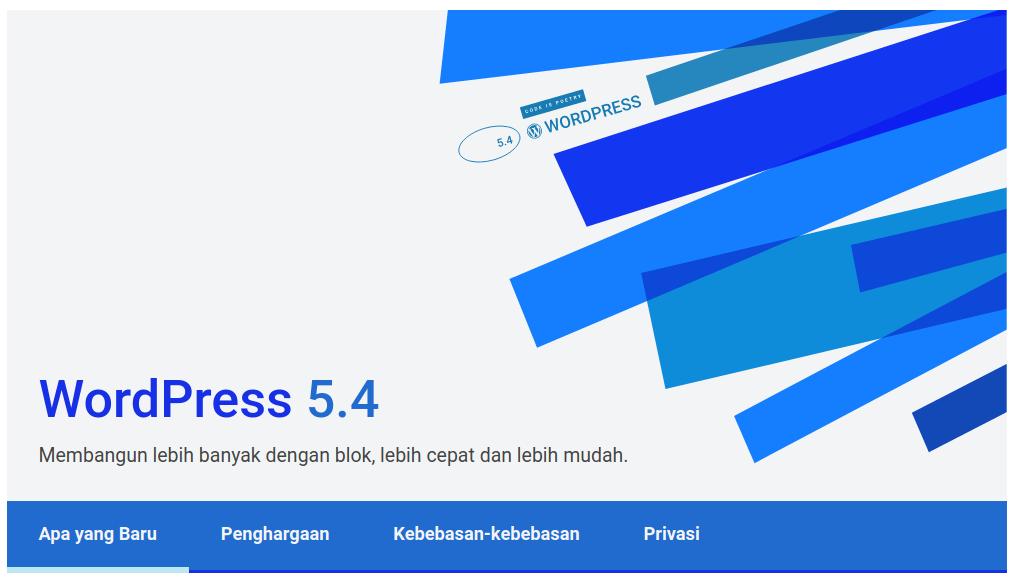 Laman tentang WordPress 5.4