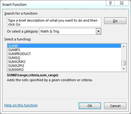 memilih fungsi excel