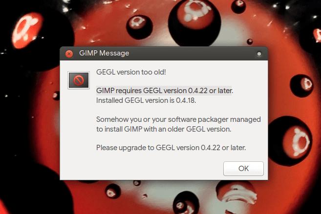 GIMP galat pasca upgrade ke Ubuntu 20.04 LTS
