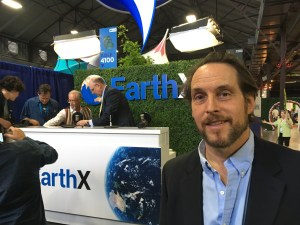 Rod Richardson in front of the EarthX 2019 podcast interview stage