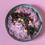 Frischer, farbenprächtiger Rotkohl Hummus