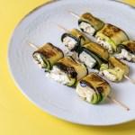 Grillspieße mit Zucchini Feta Röllchen