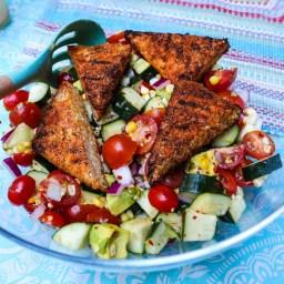 Cajun grilled tempeh salad