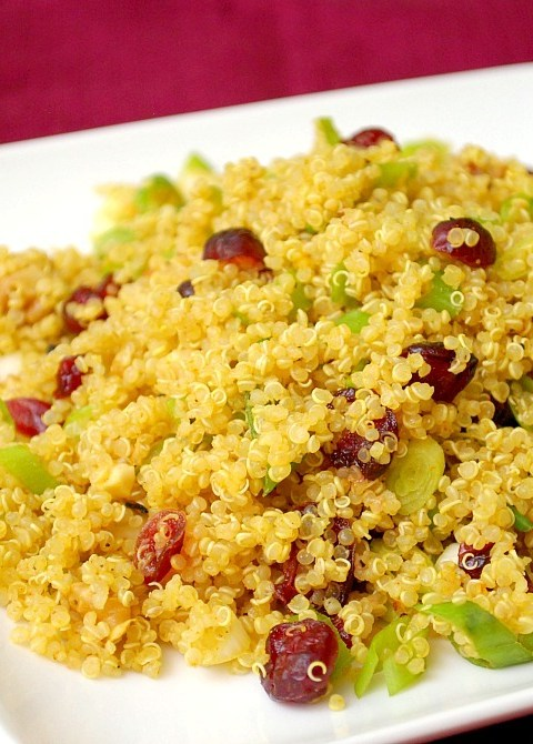curried quinoa salad with cranberries and walnuts