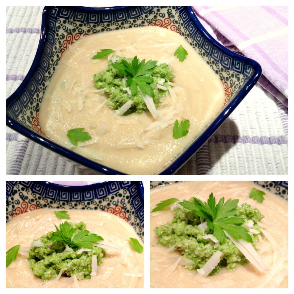 Cauliflower Soup & Asparagus Pesto Collage