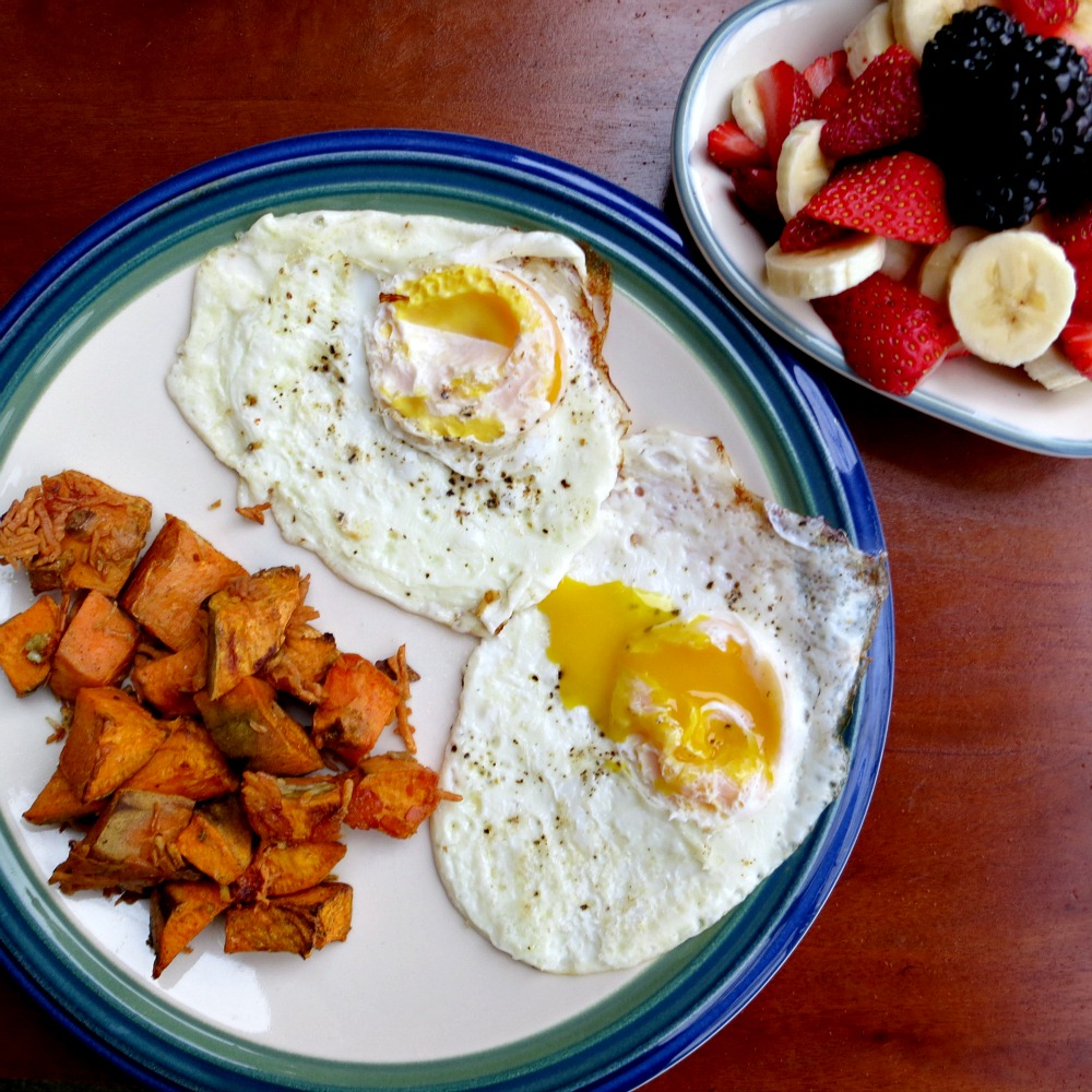 Fried Eggs, Parmesan Sweet Potatoes and Fruit