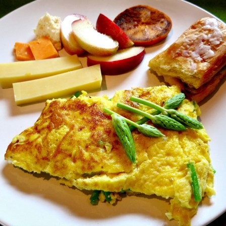 Omelet, Fruit, Cheese and Pastry