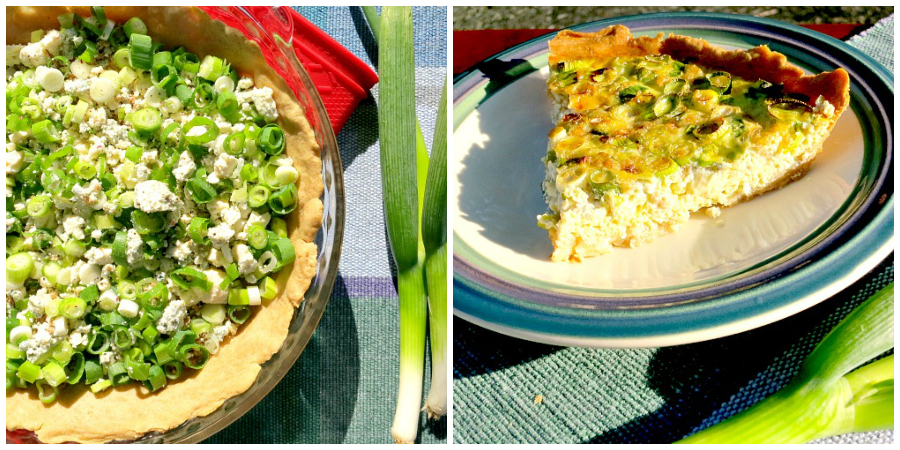 Green Onion and Blue Cheese Tart Collage