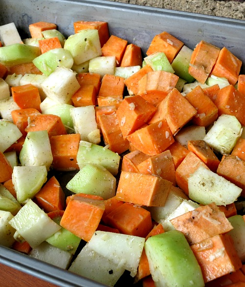 Roasted Kohlrabi and Sweet Potatoes